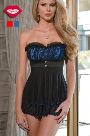 Robe bustier Jos�phine : Robe nuisette en tulle noir transparent, au magnifique bustier color� doubl� de dentelle. Pour celles qui s'aiment sexy, et romantique.